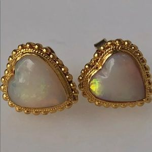 18K Fire Opal Heart Screw Post Earrings.